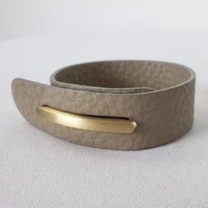 Jewelry - Matt Gold & Taupe Leather Bracelet